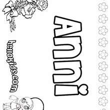 Anni - Coloring page - NAME coloring pages - GIRLS NAME coloring pages - A names for girls coloring sheets