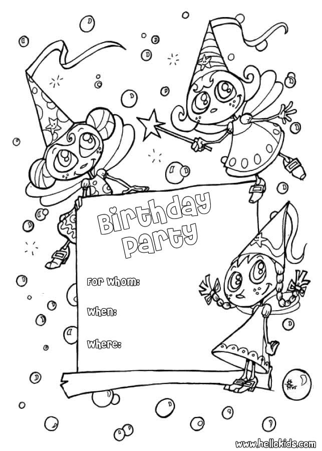 Fairy : Birthday Party Invitation coloring page