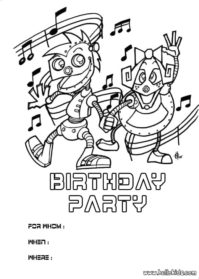 BIRTHDAY INVITATIONS coloring pages