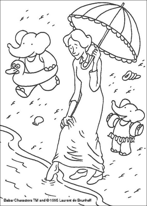 Babar goes swimming coloring page