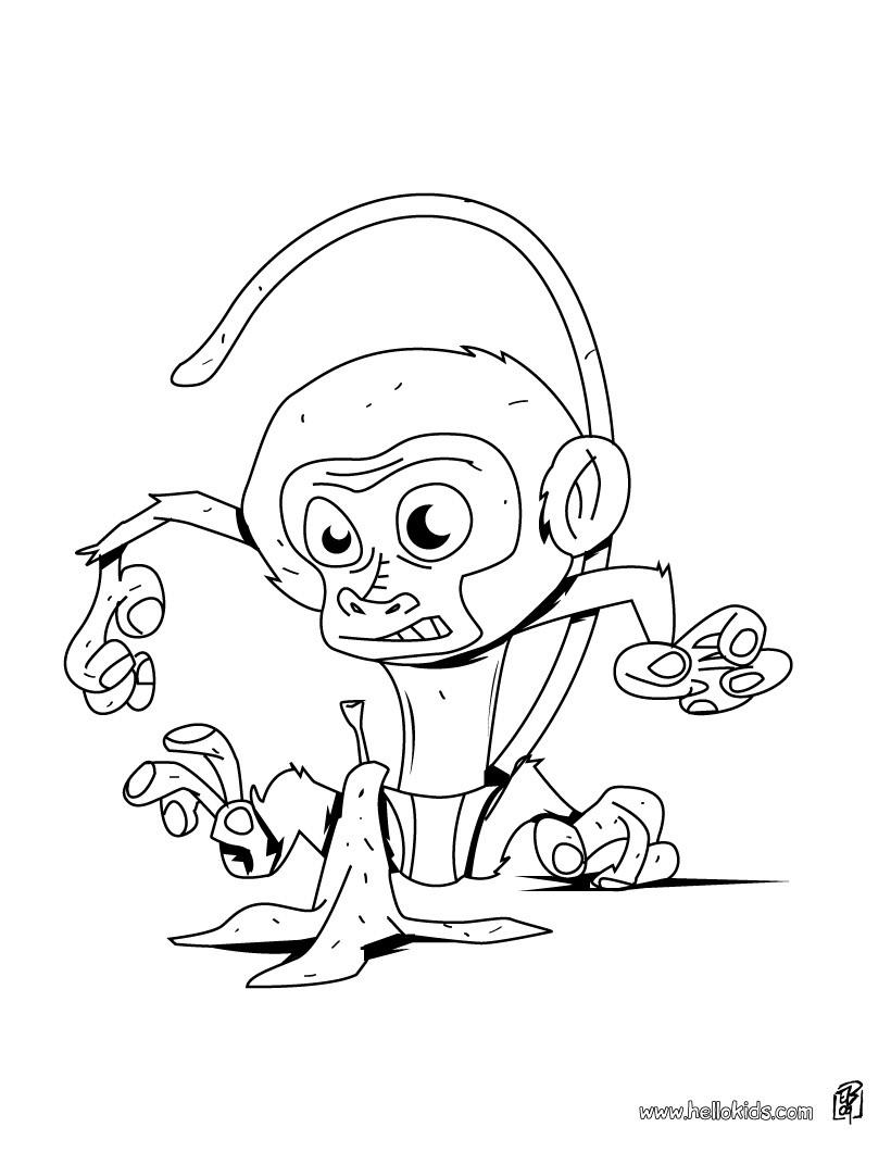 JUNGLE ANIMALS coloring pages Baby monkey
