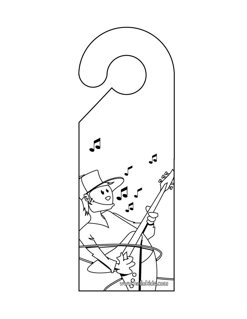 music door hanger coloring pages hellokids com