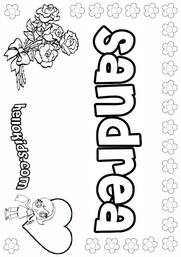sandra name coloring pages - photo#8