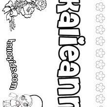Kalieann - Coloring page - NAME coloring pages - GIRLS NAME coloring pages - K names for girls coloring posters