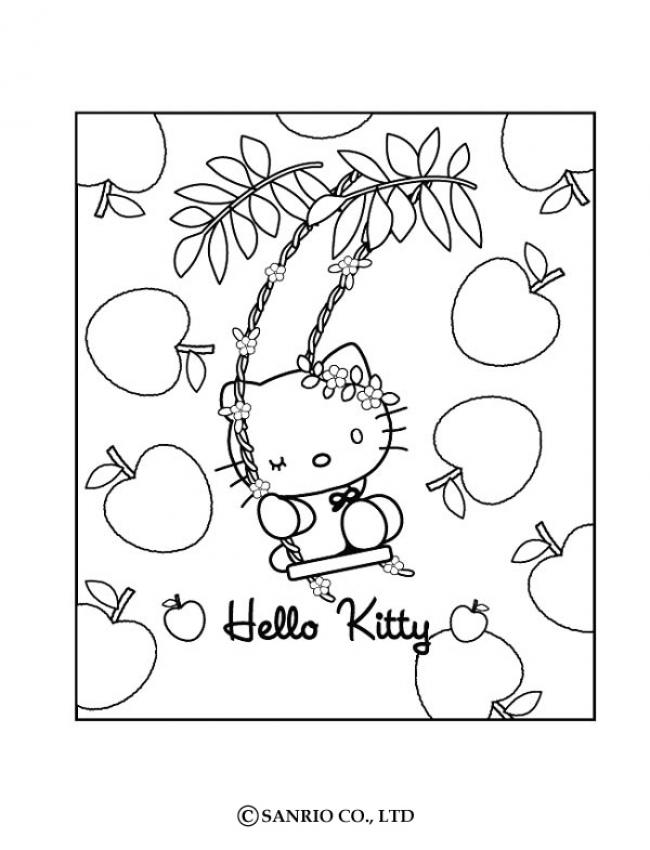 Hello kitty and apples coloring pages Hellokids
