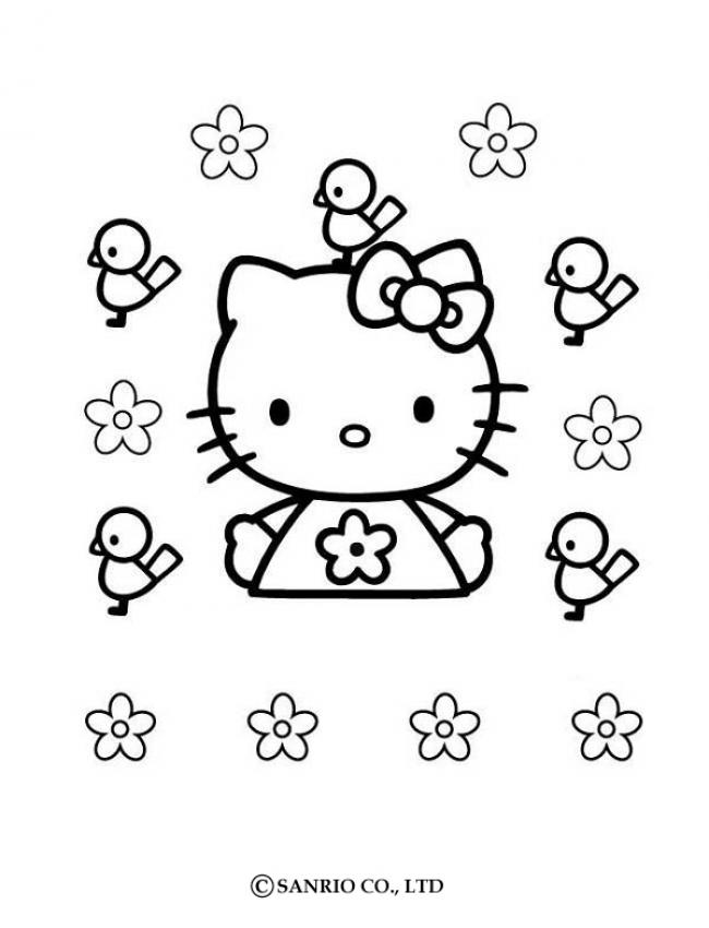 Hello Kitty And Birds Coloring Pages