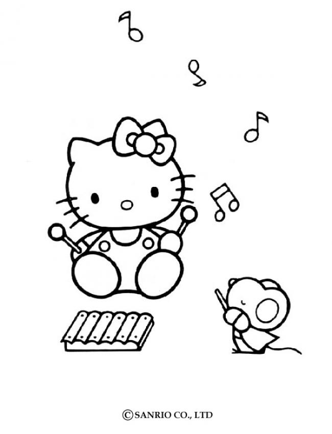 Hello Kitty Playing The Music Coloring Pages