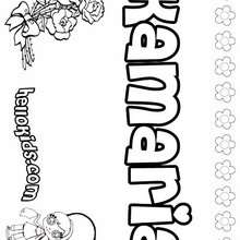 Kamaria - Coloring page - NAME coloring pages - GIRLS NAME coloring pages - K names for girls coloring posters
