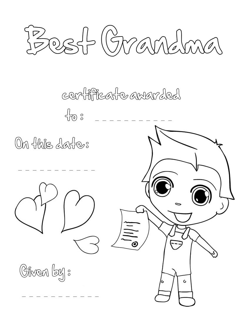 GRANDPARENTS DAY Coloring pages - Best Grandma certificate