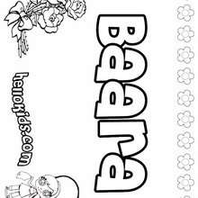 Baara - Coloring page - NAME coloring pages - GIRLS NAME coloring pages - B names for girls coloring sheets