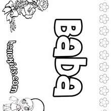 Baba - Coloring page - NAME coloring pages - GIRLS NAME coloring pages - B names for girls coloring sheets