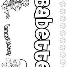 Babette - Coloring page - NAME coloring pages - GIRLS NAME coloring pages - B names for girls coloring sheets