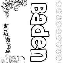 Baden - Coloring page - NAME coloring pages - GIRLS NAME coloring pages - B names for girls coloring sheets