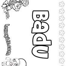 Badu - Coloring page - NAME coloring pages - GIRLS NAME coloring pages - B names for girls coloring sheets