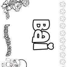 Bai - Coloring page - NAME coloring pages - GIRLS NAME coloring pages - B names for girls coloring sheets