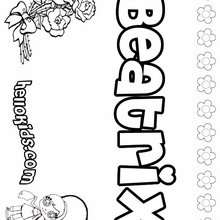 Beatrix - Coloring page - NAME coloring pages - GIRLS NAME coloring pages - B names for girls coloring sheets