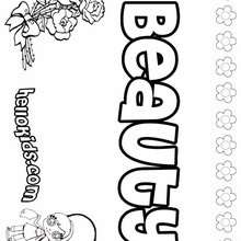 Beauty - Coloring page - NAME coloring pages - GIRLS NAME coloring pages - B names for girls coloring sheets