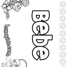 Bebe - Coloring page - NAME coloring pages - GIRLS NAME coloring pages - B names for girls coloring sheets