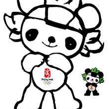Jingjing Beijin olympic mascot coloring page