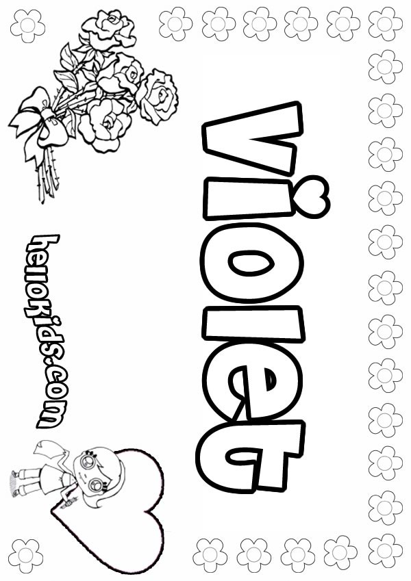 Violet free colouring pages for Violet coloring page