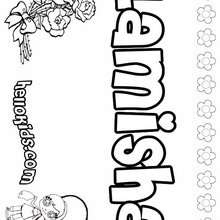 Lamisha - Coloring page - NAME coloring pages - GIRLS NAME coloring pages - L girl names coloring posters