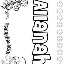 Allanah - Coloring page - NAME coloring pages - GIRLS NAME coloring pages - A names for girls coloring sheets