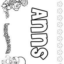 Anns - Coloring page - NAME coloring pages - GIRLS NAME coloring pages - A names for girls coloring sheets