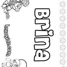 Brina - Coloring page - NAME coloring pages - GIRLS NAME coloring pages - B names for girls coloring sheets