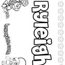 Ryleigh - Coloring page - NAME coloring pages - GIRLS NAME coloring pages - R names for girls coloring posters