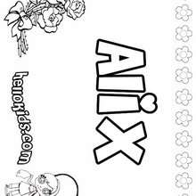 Alix - Coloring page - NAME coloring pages - GIRLS NAME coloring pages - A names for girls coloring sheets