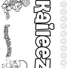 Kaileez - Coloring page - NAME coloring pages - GIRLS NAME coloring pages - K names for girls coloring posters