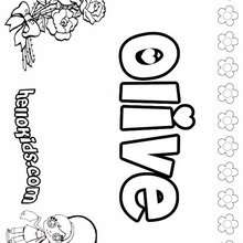 Olive - Coloring page - NAME coloring pages - GIRLS NAME coloring pages - O, P, Q names fo girls posters