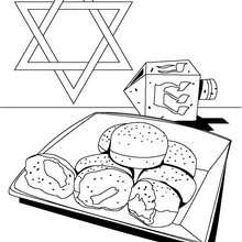 Hanukkah doughnut coloring page
