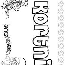 Kortni - Coloring page - NAME coloring pages - GIRLS NAME coloring pages - K names for girls coloring posters