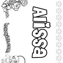 Alissa - Coloring page - NAME coloring pages - GIRLS NAME coloring pages - A names for girls coloring sheets