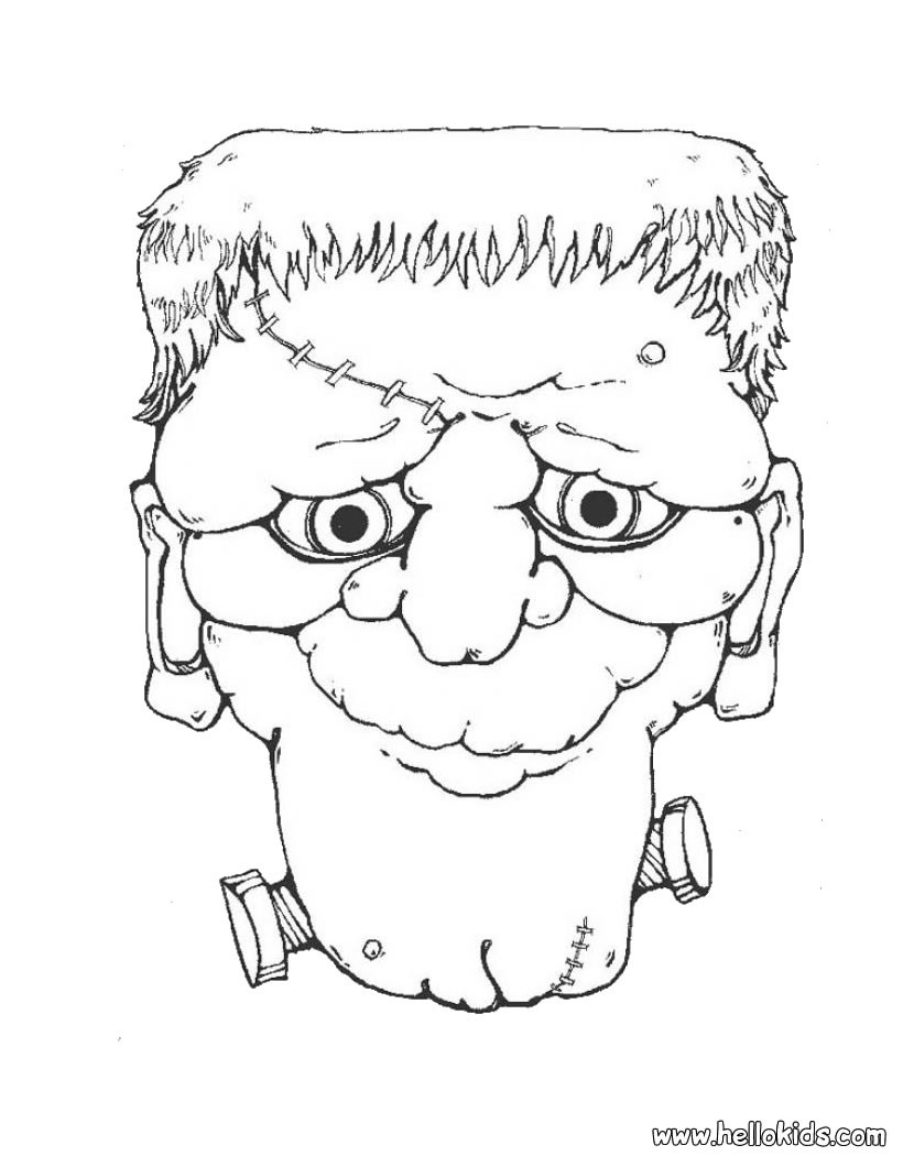 Frankenstein head coloring pages - Hellokids.com