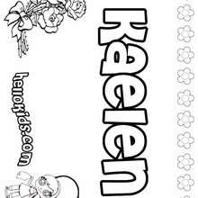 Kaelen - Coloring page - NAME coloring pages - GIRLS NAME coloring pages - K names for girls coloring posters