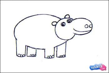 How to draw hippopotamus - Hellokids.com  How to draw hip...