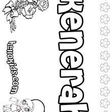 Kenerah - Coloring page - NAME coloring pages - GIRLS NAME coloring pages - K names for girls coloring posters