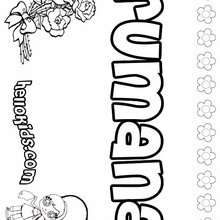 Rumana - Coloring page - NAME coloring pages - GIRLS NAME coloring pages - R names for girls coloring posters