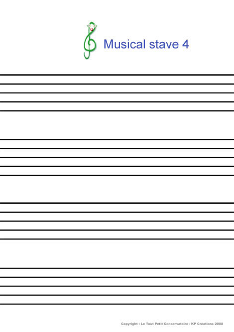 Musical stave 4 coloring page
