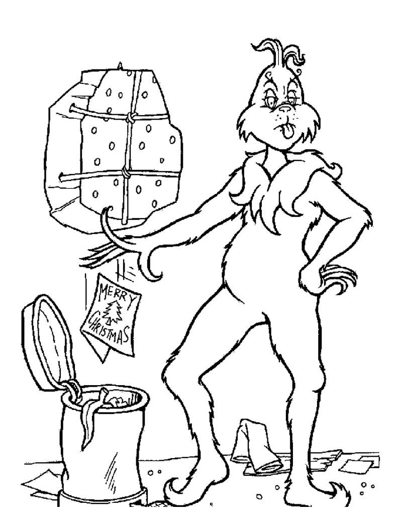 The grinch throws christmas letters out coloring pages ...