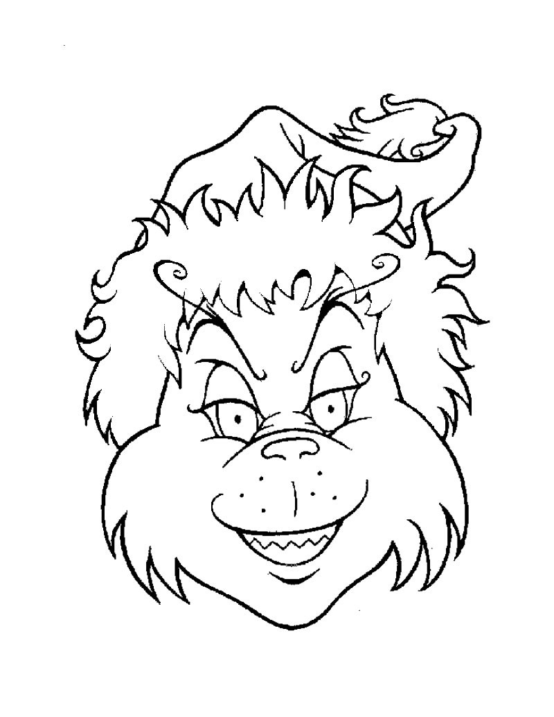 The grinch's head coloring pages - Hellokids.com