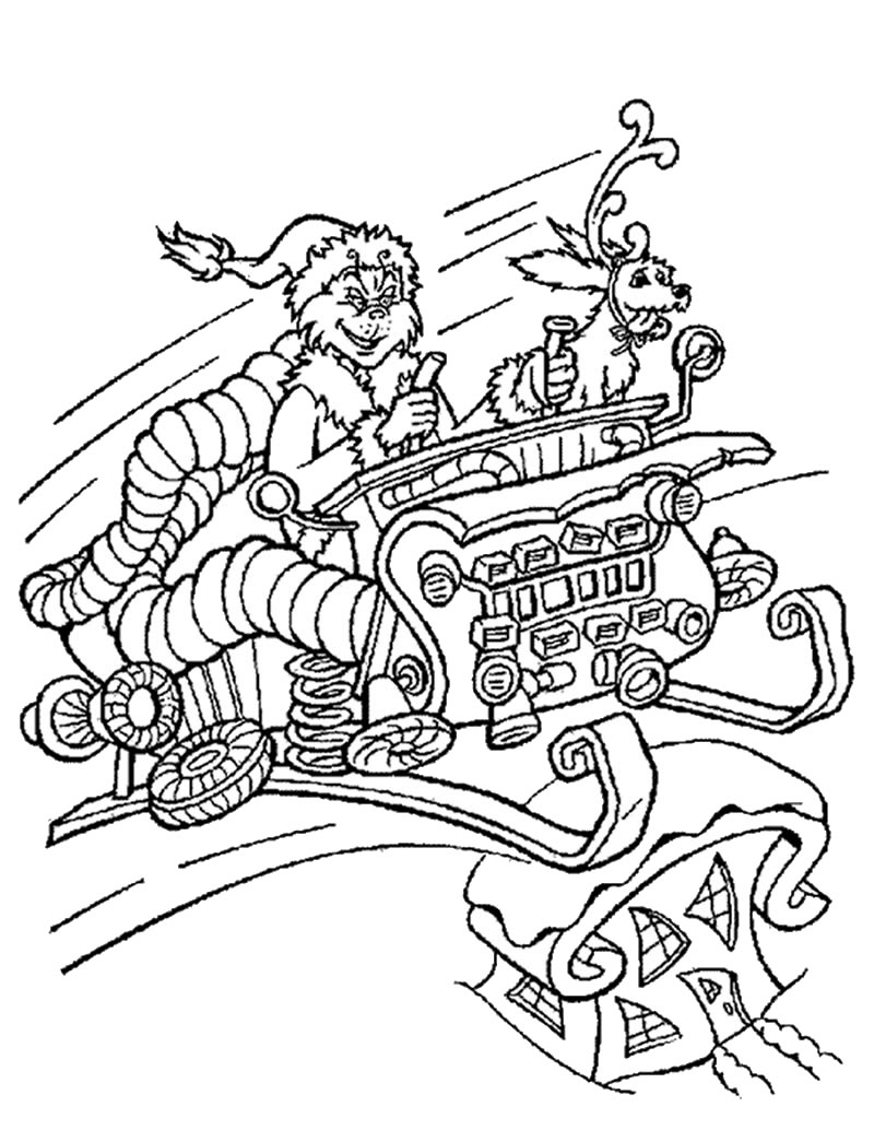 The grinch in christmas sleigh coloring pages - Hellokids.com