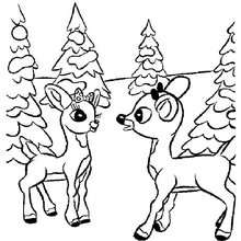 Comet and Rudolph coloring page - Coloring page - HOLIDAY coloring pages - CHRISTMAS coloring pages - XMAS REINDEER coloring pages - COMET coloring pages