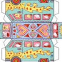 Valentine Bus - Kids Craft - PAPER TOYS - VALENTINE Paper Toys