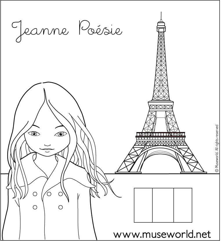 france coloring pages for girls | Jeanne from paris coloring pages - Hellokids.com
