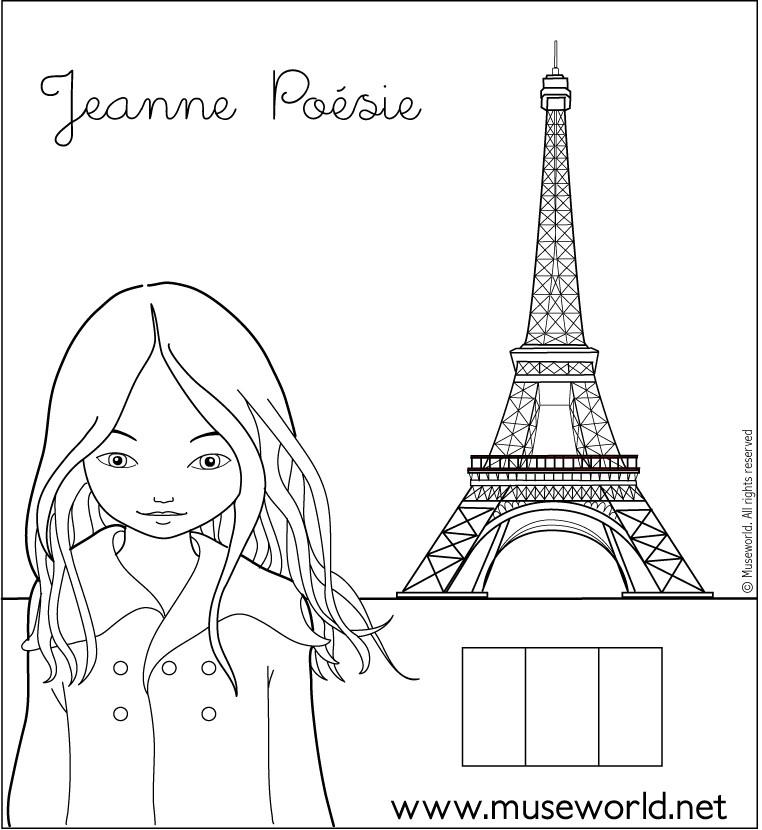 jeanne from paris coloring page - Paris Coloring Book