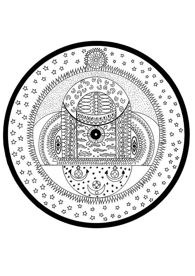 Indian cosmic spheres mandala worksheet