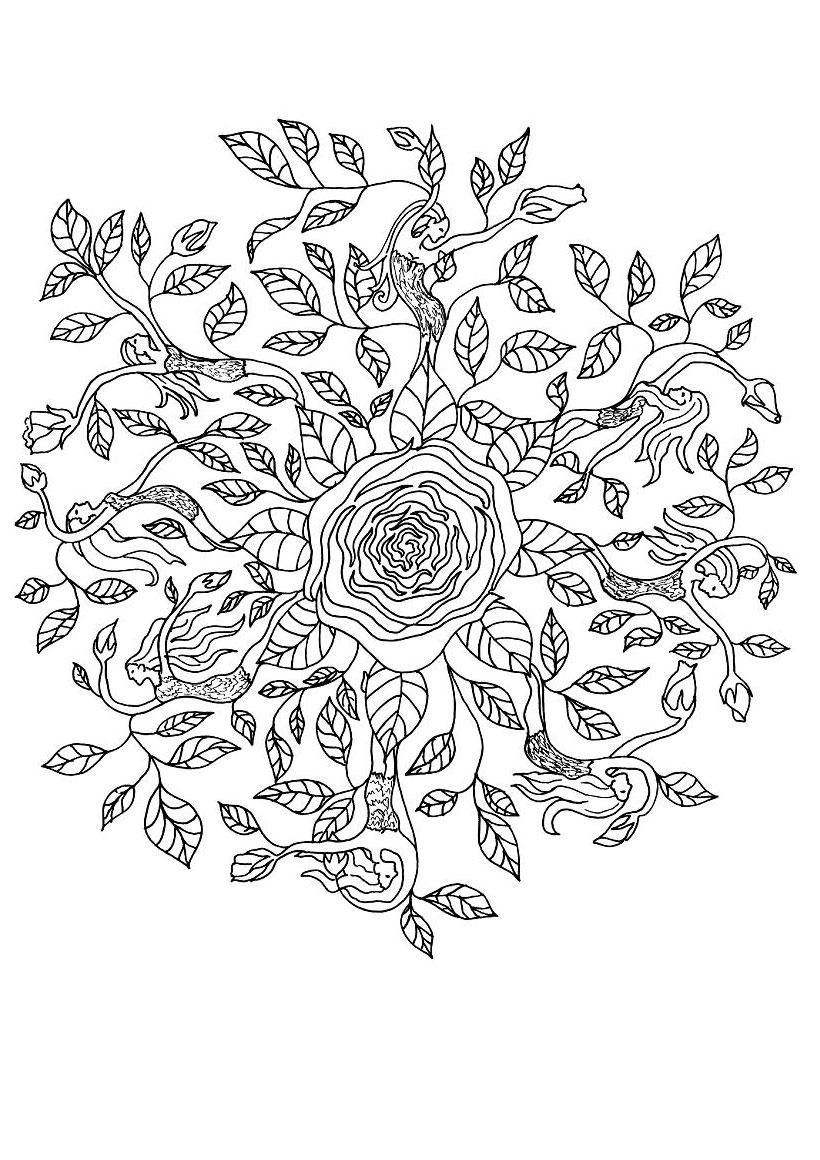 Free online rose coloring pages - Rose Elf Mandala Worksheet Color Online Print